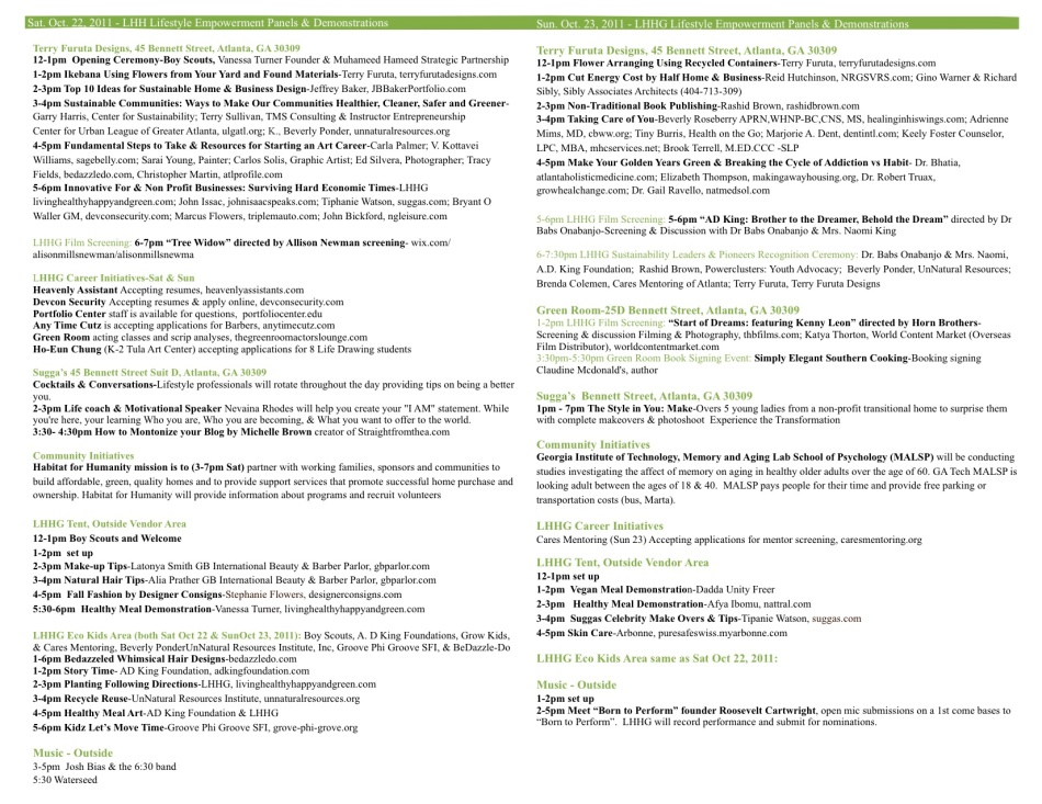 LHHG Sustainability Block Party Event Schedule 2011 Oct-22-23, 2011 11am-7pm